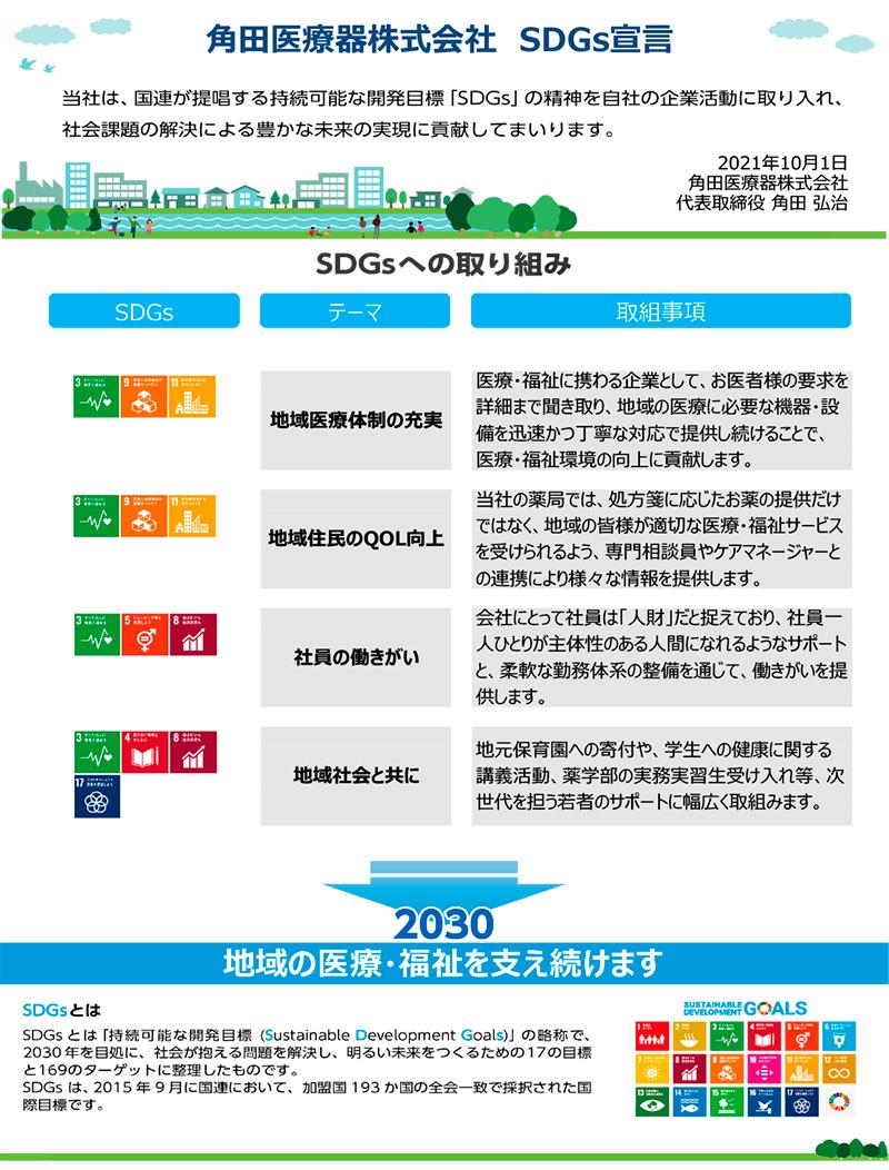 角田医療器株式会社のSDGs宣言について