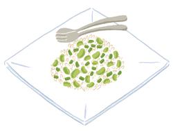 もち麦レシピ2:もち麦とそら豆のサラダ
