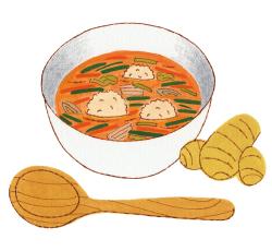鶏つくねの生姜スープ
