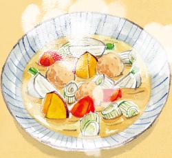 白みそ仕立ての根菜スープ
