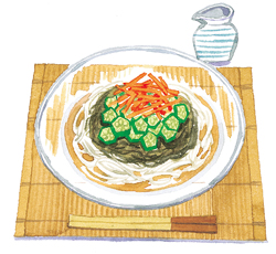 海藻を使った夏バテ対策レシピ1:もずくそうめん
