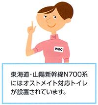 東海道・山陽新幹線N700系にはオストメイト対応トイレが設置されています
